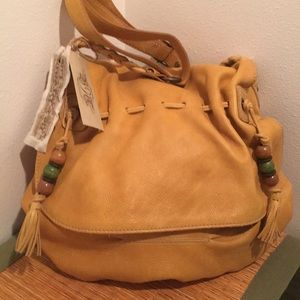 Nine West Leather Hobo Crossbody/ Sunflower Yellow